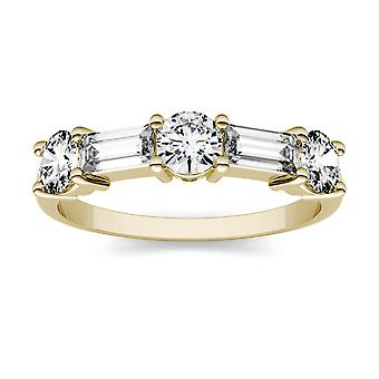 14K Yellow Gold Moissanite by Charles & Colvard 5x2mm Step Cut Baguette Fashion Ring, 1.15cttw DEW