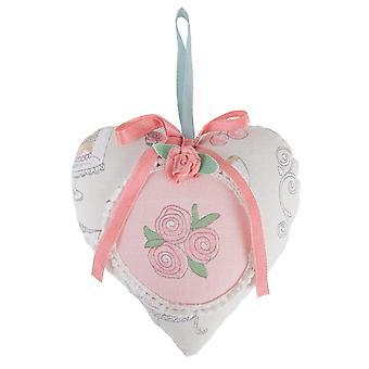 Clayre & Eef romantischer Herzanhänger Patisserie Muster mehrfarbig ca. 13x13 cm