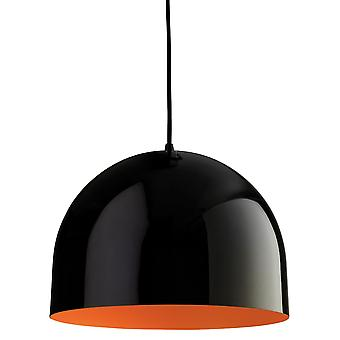 Erstlicht-1 Light Ceiling Pendant Black, Orange Inside-8624BKOR