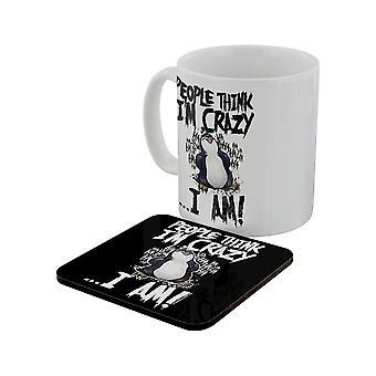 Psycho Penguin People Think I`m Crazy Mug & Coaster Set