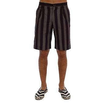 Gray purple striped cotton shorts