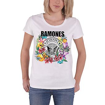 Ramones T Shirt Band Logo Circle Flowers new Official Womens Skinny Fit White