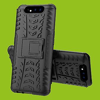 Para Samsung Galaxy A80 híbrido caso 2 peças ao ar livre caso capa preta tampa de proteção