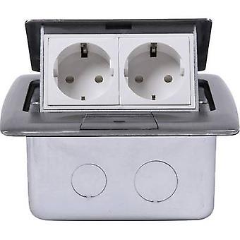 Heitronic 40462 2x Floor socket IP20 Silver