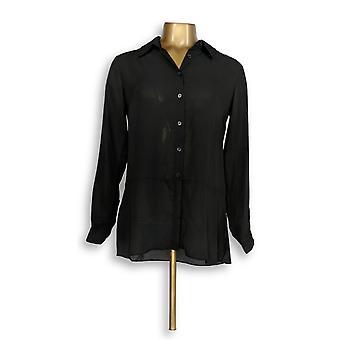 Joan Rivers Classics collectie vrouwen ' s top XXS zijdeachtige blouse zwart A288773
