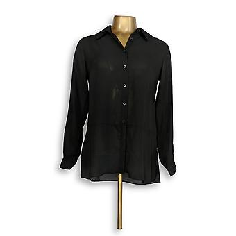 Joan Rivers Classics kollektion kvinder ' s top XXS silkeblød bluse sort A288773