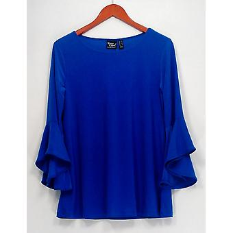 Frauen mit Control Top Regular Flounce Sleeve Tunika Blau A301383