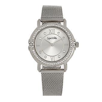 Sophie and Freda Reno Bracelet Watch w/Swarovski Crystals - Silver