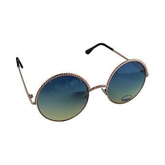 Óculos de sol UV 400 round ouro Lichtblauw1903_1