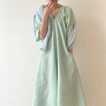 Halv ermer V-hals lang kjole