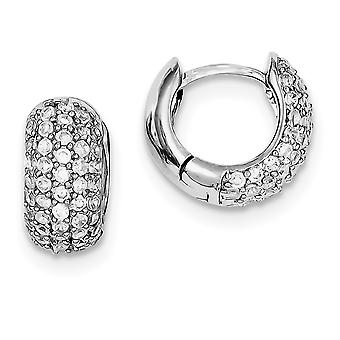 925 Sterling Silber Pave solid poliert Rhodium plattiert CZ Zirkonia simuliert Diamant Scharnier Creolen Schmuck