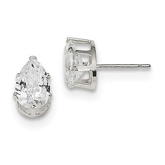 925 Sterling Silver Snap setting Post Earrings 9x6 Pear CZ Cubic Zirconia Simulated Diamond Stud Earrings Jewelry Gifts