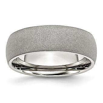 Stainless Steel Engravable Stone Finish 7mm Band Ring Jewelry Gifts for Women - Ring Size: 7 to 13