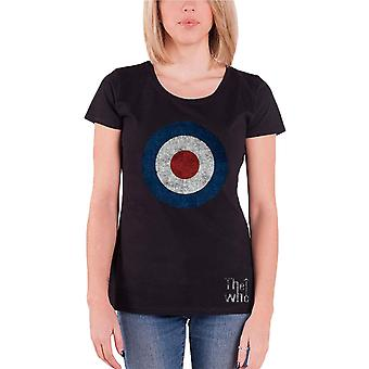 The Who T Shirt Distressed Target band Logo Official Womens skinny Fit