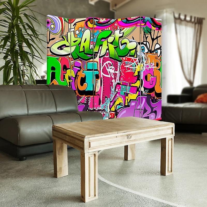 Diviseur de chambre, 5 panneaux, double-sided, toile, sous-titres abstraits 3