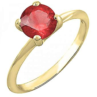 Dazzlingrock Collection 14K 6mm Round Cut Ruby Solitaire Bridal Engagement Ring, Oro Amarillo