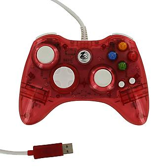 Compatible wired colour glow vibration usb controller for microsoft xbox 360 - red