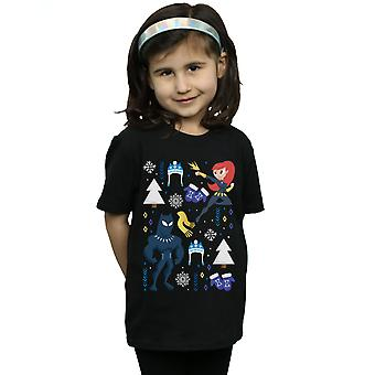 Marvel Girls Black Panther And Black Widow Christmas Day T-Shirt