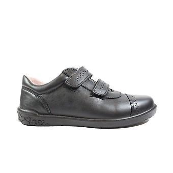 Ricosta Grace 8626100-090 Black Leather Girls Rip Tape School Shoes