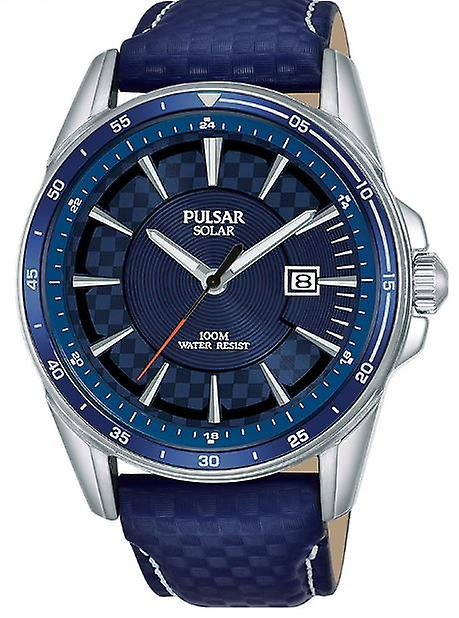 Pulsar Accelerator Solar Blue Leather Strap Silver Stainless Steel Case Men's Watch PX3205X1