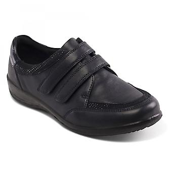 Padders Caitlin Ladies Leather Extra Wide (2e/3e) Shoes Light Navy