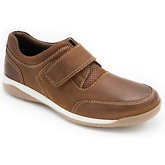 Padders Chiltern Mens Leather Wide (g Fit) Touch Fasten Shoes Tan