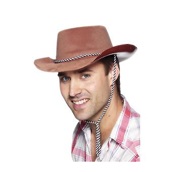 Brown Cowboy Hat With Cord String Fancy Dress Costume Accesory