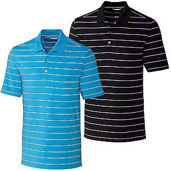 Cutter & Buck Mens Everett Stripe Moisture Wicking Polo Shirt