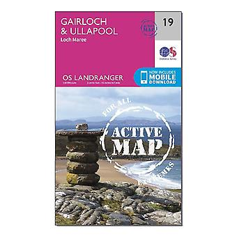 New Ordnance Survey Landranger Active 19 Gairloch & Ullapool  Loch Maree Map Orange
