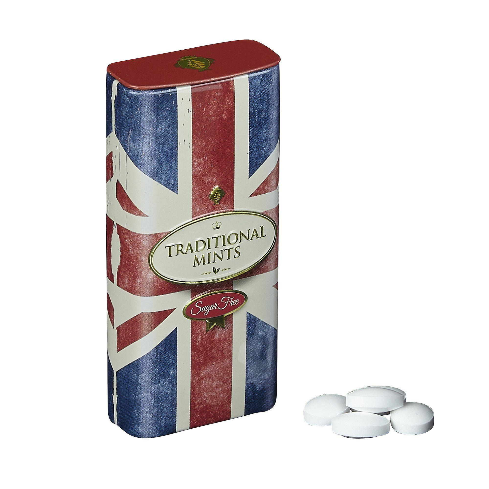 Retro union jack sugar free mints with flip lid 25g