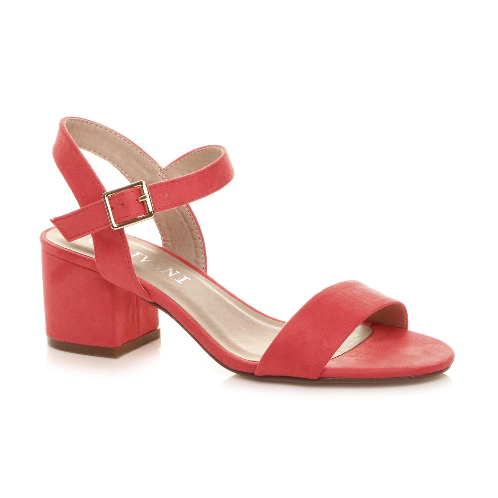 Ajvani womens mid low block heel peep toe ankle strap strappy party sandals erGma