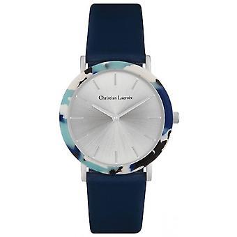 Watch Christian Lacroix CLW016 - Silver Steel Bracelet Blue Leather Cadran Nacr Women