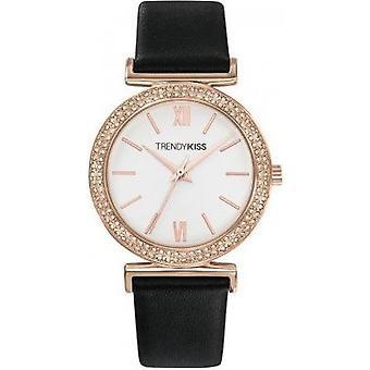 Watch Trendy Kiss TRG10098 - 01 B-tier steel Dor e Bo Black Leather Bracelet Watch pink woman