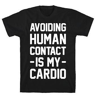Het vermijden van menselijk zwart t-shirt
