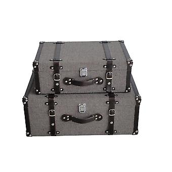 Textured Fabric Upholstered Suitcase with Nailhead Details, Gray, Set of 2