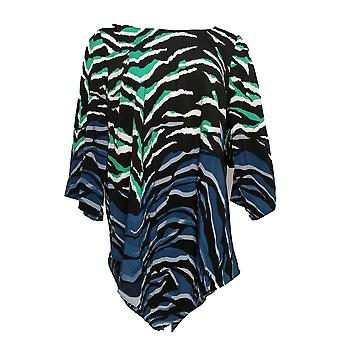Alfani Women's Plus Top Blouse Animal Print V Bottom Black