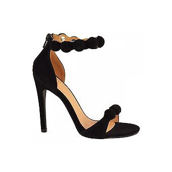 Black Pom Pom Heels
