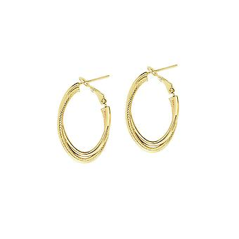 14k Yellow Gold Interwoven Plain Textured Tube Oval High Polish Omega Cl Earrings Jewelry Gifts for Women