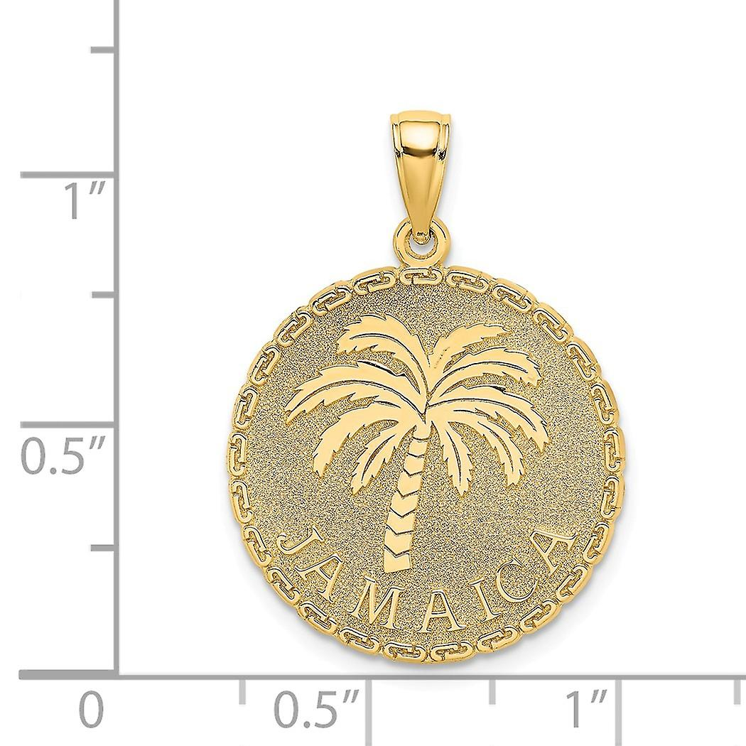 14 k Gold Jamaika und Palm Eis Scheibe Charme Anhänger Halskette Schmuck Geschenke für Frauen - 3,0 Gramm