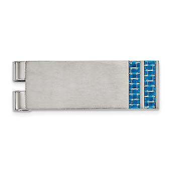 19.03mm Stainless Steel Brushed Blue Carbon Fiber Inlay Money Clip Jewelry Gifts for Men
