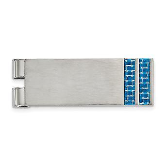 19.03mm ruostumaton teräs harjattu sininen hiilikuitu upotus rahaa clip koruja lahjoja miehille
