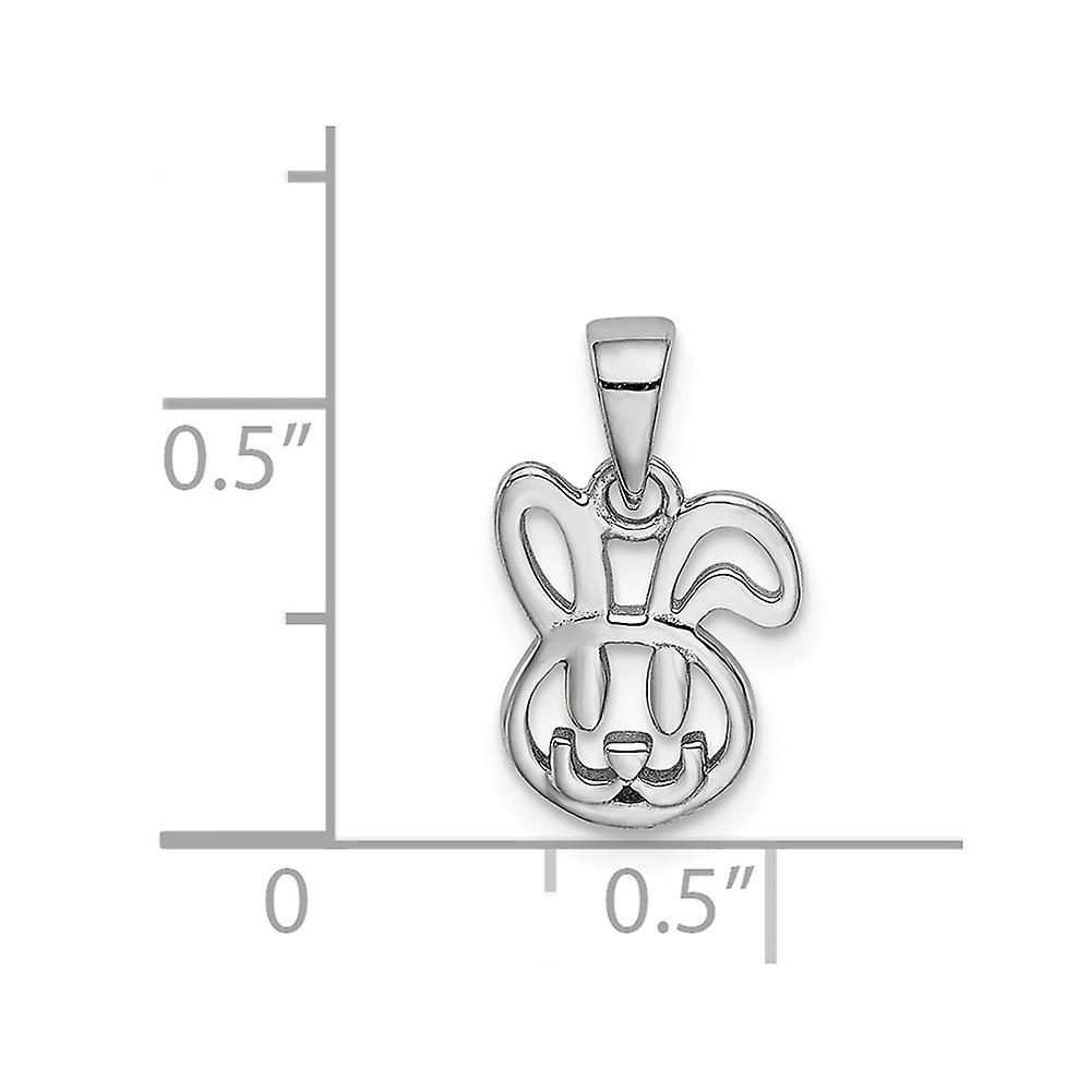 925 Sterling Silver Rhodium plated for boys or girls Bunny Pendant Necklace - .6 Grams