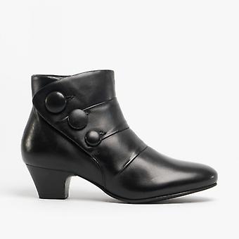 لوتس برانسر السيدات الجلود الكاحل أحذية الأسود