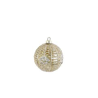 Light & Living Christmas Bauble 8x8cm Sinta Glass Yellowxsilver