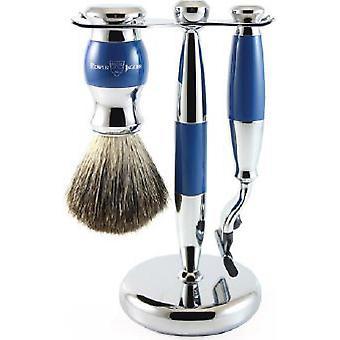 Blå barbering sett 3 PI disse-MACH3