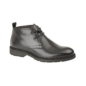 Roamers Black Leather 2 Eye Chukka Boot Memory Foam Leather Shoe