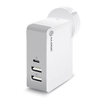 Alogic 3 Port Usb Travel Charger With Multi Country Plugs White