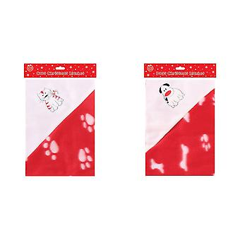Christmas Shop Cute Cat/Dog Paw Print Pet Blanket (Pack of 2)