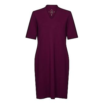 PENNY PLAIN Wine High Back V-Neck Dress