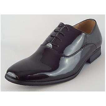 Goor Black Patent Pu Oxford Tie Shoe Leather Quarter Lining & ½ Sock Resin Sole